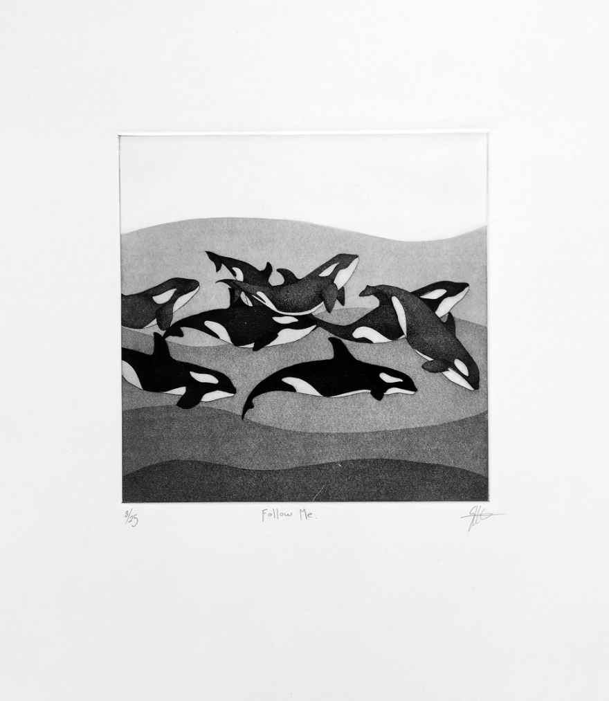 Print Etching Orca Whales Ocean Art