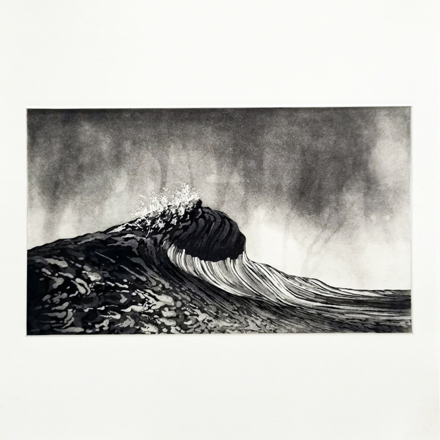 Print Etching Wave Art