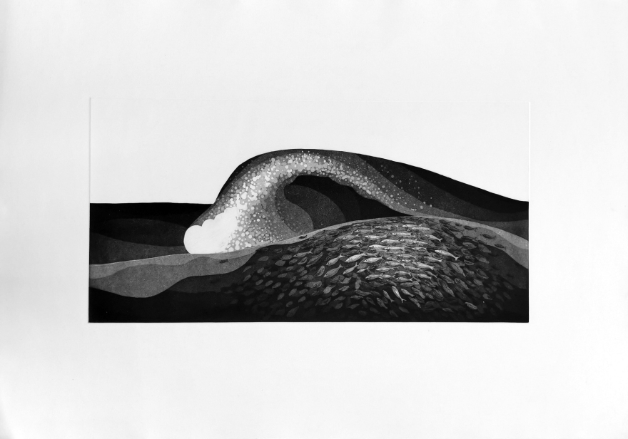 Print Etching Wave Fish Ocean Art